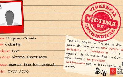 Solidaritat denuncien les amenaces rebudes per Diógenes Orjuela, president de la Central Unitaria de Trabajadores (CUT) de Colòmbia