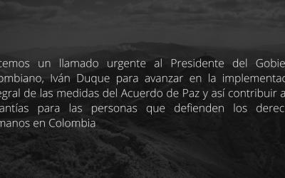 Comunicat públic en relació amb l'increment de la crisi humanitària i de drets humans a Colòmbia