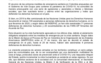 Municipis catalans signen carta pública de preocupació per l'increment exponencial de la crisis humanitària i de drets humans a Colòmbia
