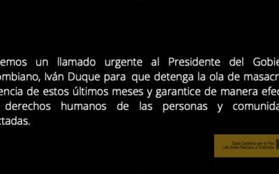 La Taula se suma al comunicado de Oidhaco en condena de los hechos violentos y de la grave situación humanitaria en el territorio colombiano