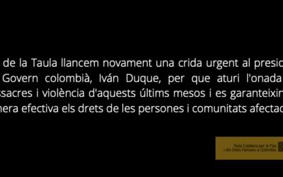 La Taula condemna les massacres de les darreres setmanes i expressa la seva preocupació per la intensificació de la violència a Colòmbia