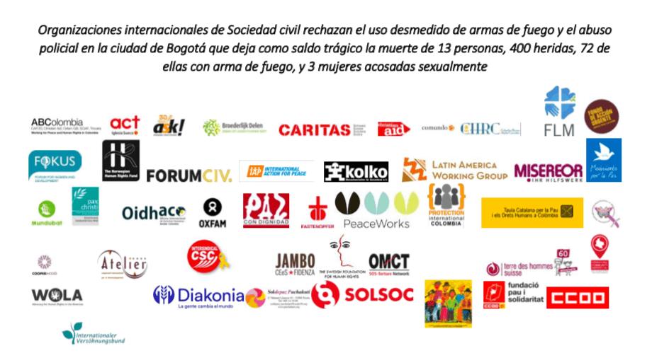 Organizaciones Internacionales de la Sociedad civil rechazamos el uso desmedido de las armas de fuego y los abusos policiales en Colombia